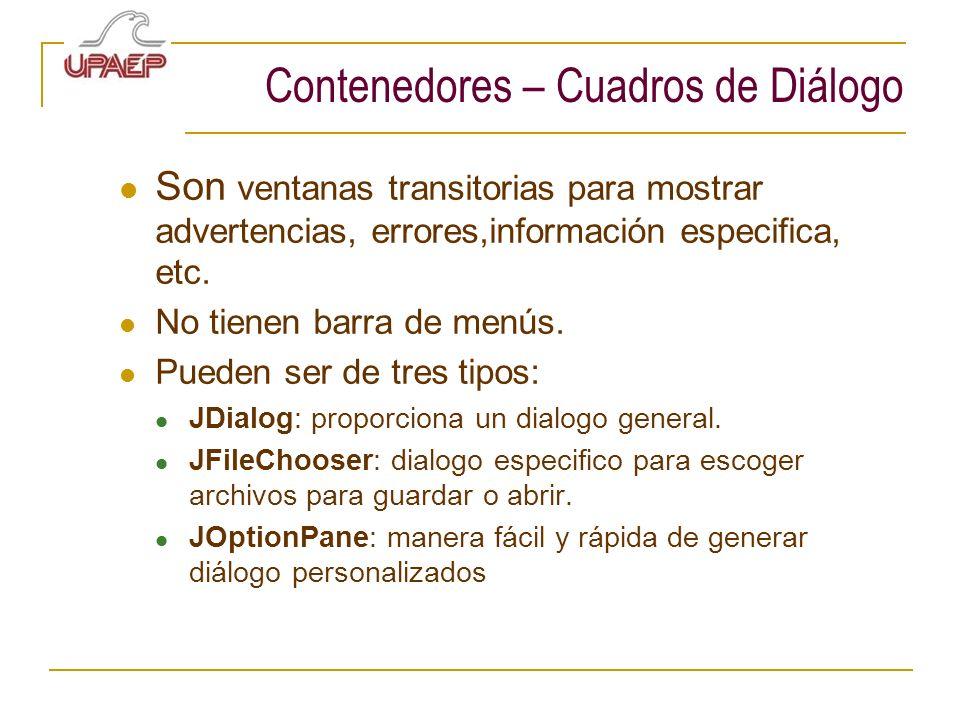 Contenedores – Cuadros de Diálogo