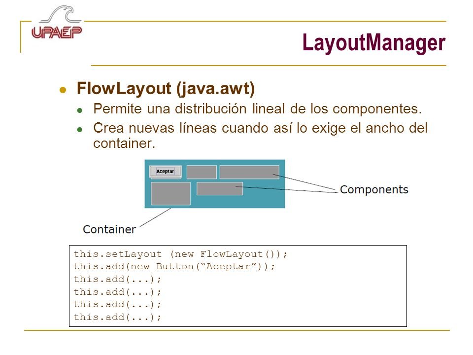 LayoutManager FlowLayout (java.awt)