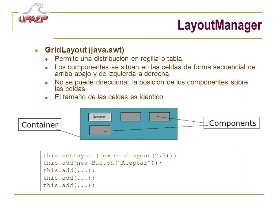 LayoutManager GridLayout (java.awt)