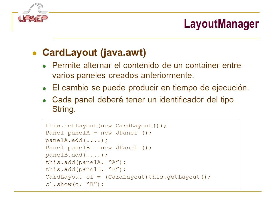 LayoutManager CardLayout (java.awt)