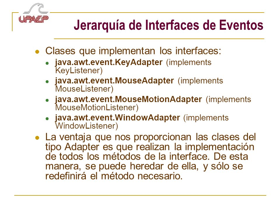 Jerarquía de Interfaces de Eventos