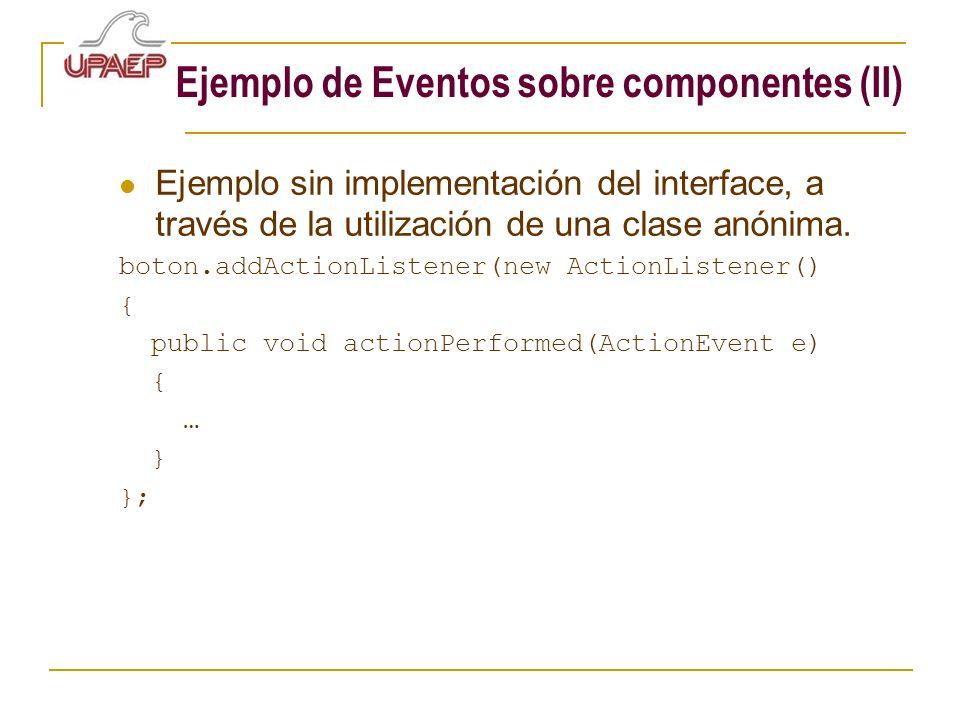Ejemplo de Eventos sobre componentes (II)
