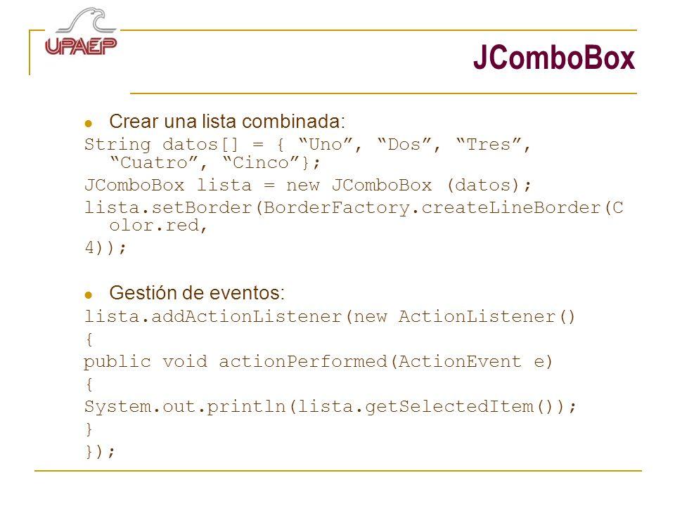 JComboBox Crear una lista combinada: Gestión de eventos: