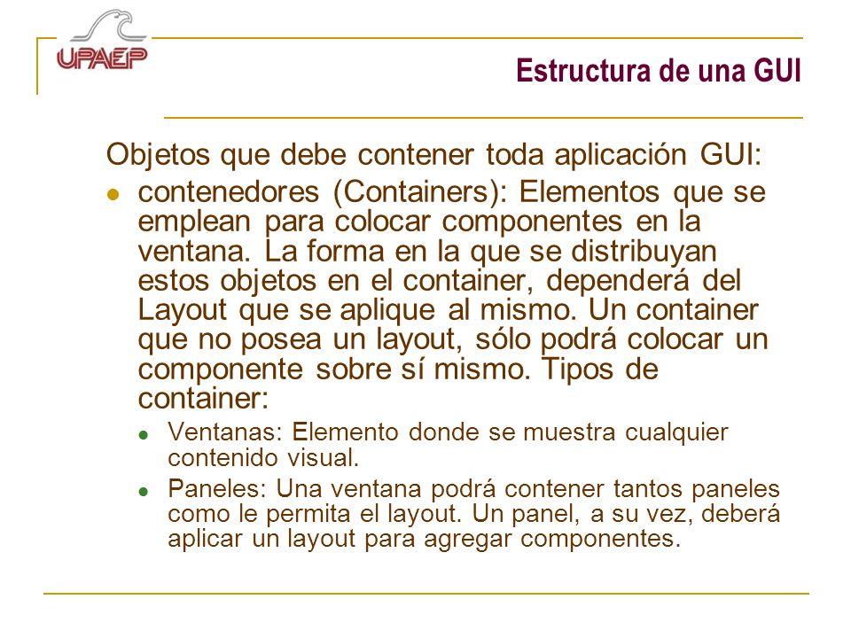 Estructura de una GUI Objetos que debe contener toda aplicación GUI: