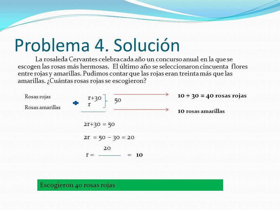 Problema 4. Solución 10 + 30 = 40 rosas rojas r+30 50 r