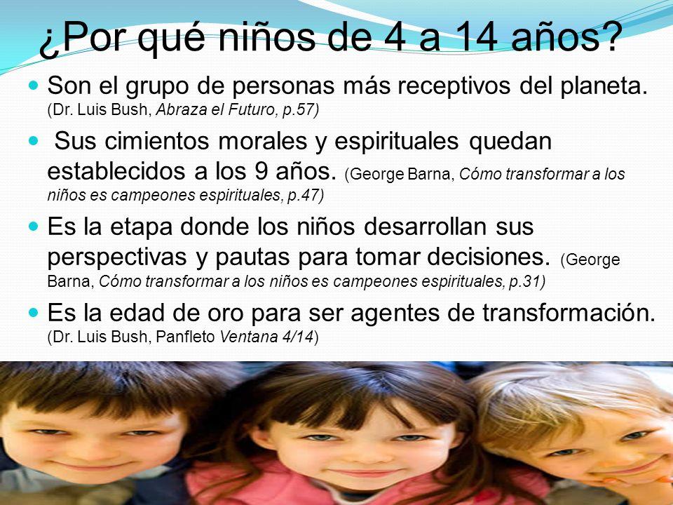 ¿Por qué niños de 4 a 14 años Son el grupo de personas más receptivos del planeta. (Dr. Luis Bush, Abraza el Futuro, p.57)