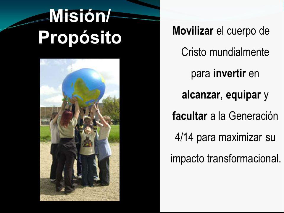 Movilizar el cuerpo de Cristo mundialmente para invertir en alcanzar, equipar y facultar a la Generación 4/14 para maximizar su impacto transformacional.
