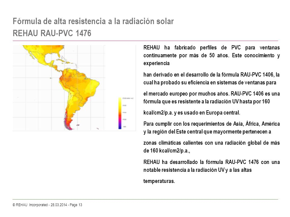Fórmula de alta resistencia a la radiación solar REHAU RAU-PVC 1476