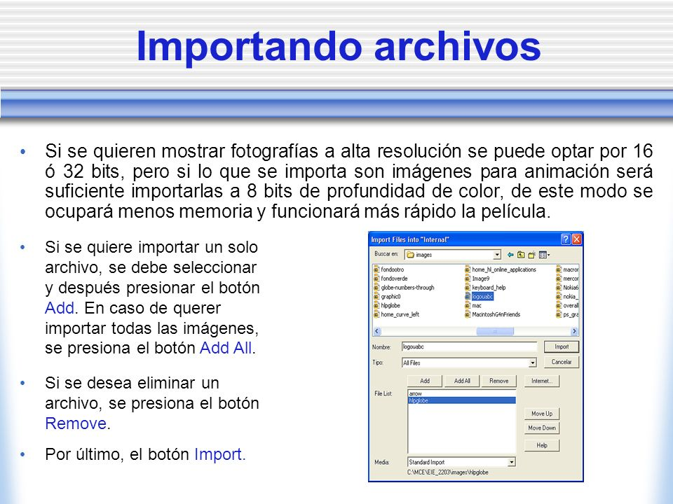 Importando archivos