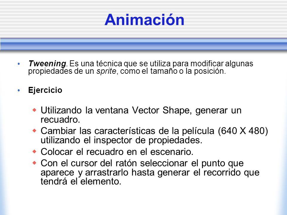 Animación Utilizando la ventana Vector Shape, generar un recuadro.