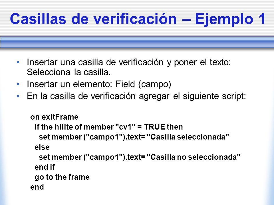 Casillas de verificación – Ejemplo 1