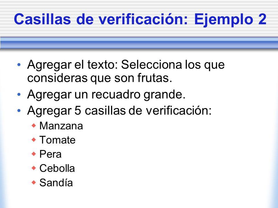 Casillas de verificación: Ejemplo 2