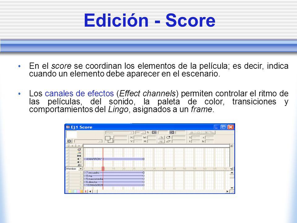 Edición - Score En el score se coordinan los elementos de la película; es decir, indica cuando un elemento debe aparecer en el escenario.