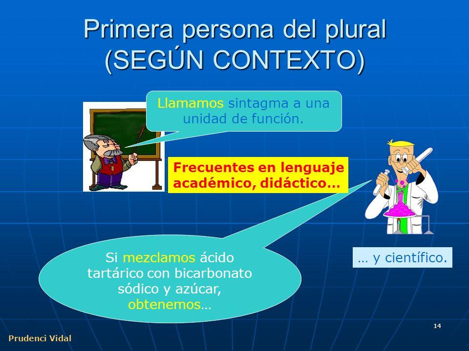Primera persona del plural (SEGÚN CONTEXTO)