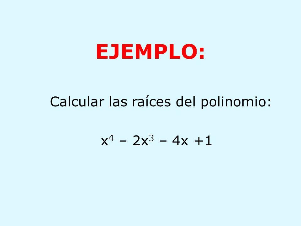 Calcular las raíces del polinomio: