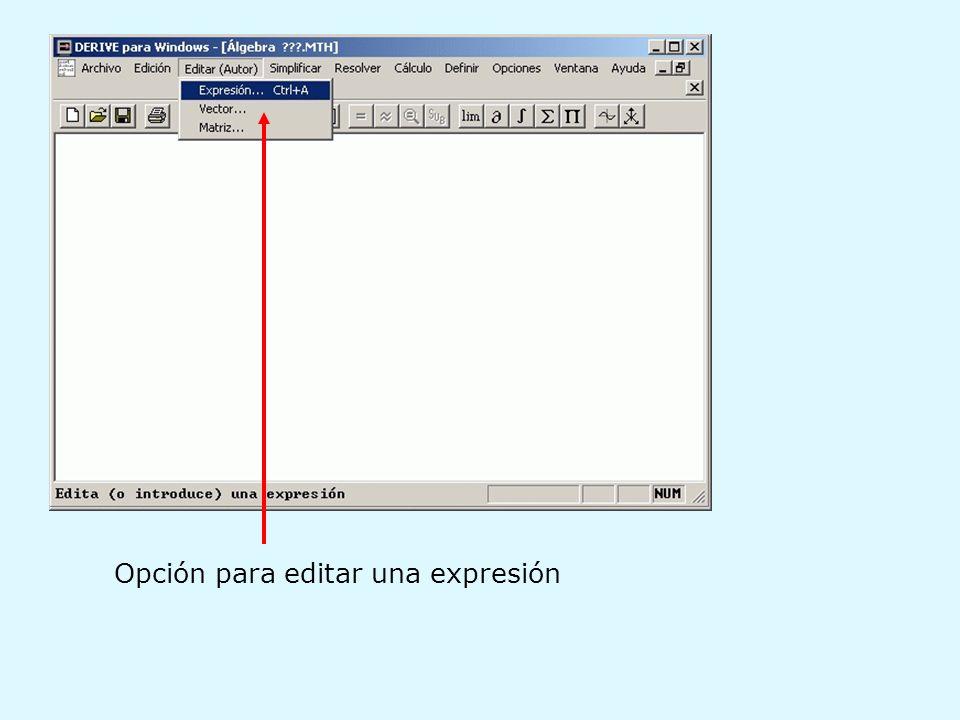 Opción para editar una expresión