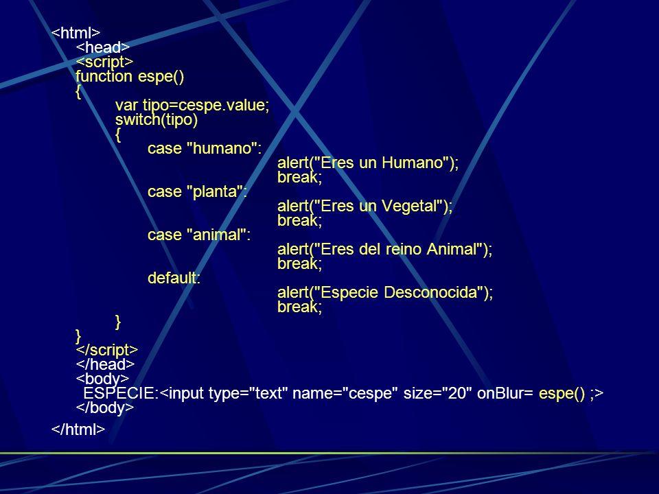 <html> <head> <script> function espe() {