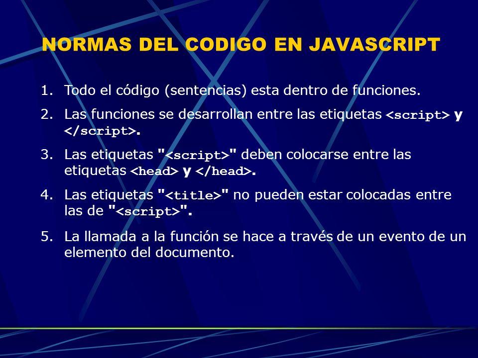 NORMAS DEL CODIGO EN JAVASCRIPT