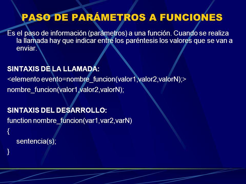 PASO DE PARÁMETROS A FUNCIONES