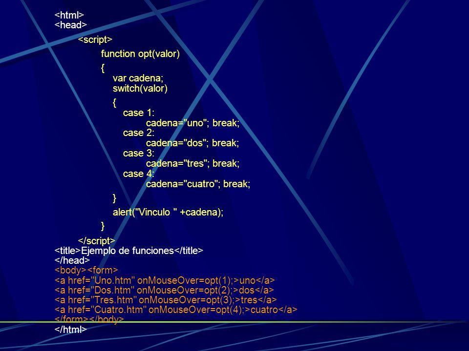 <html><head> <script> function opt(valor) { var cadena; switch(valor)