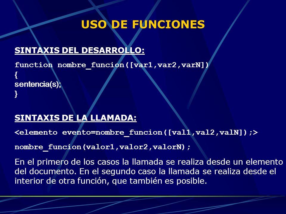 USO DE FUNCIONES SINTAXIS DEL DESARROLLO: