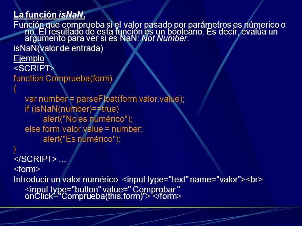La función isNaN.