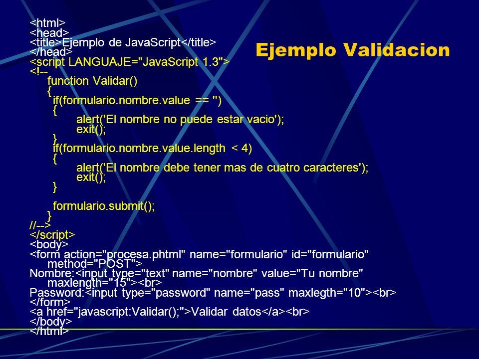 Ejemplo Validacion <html> <head>