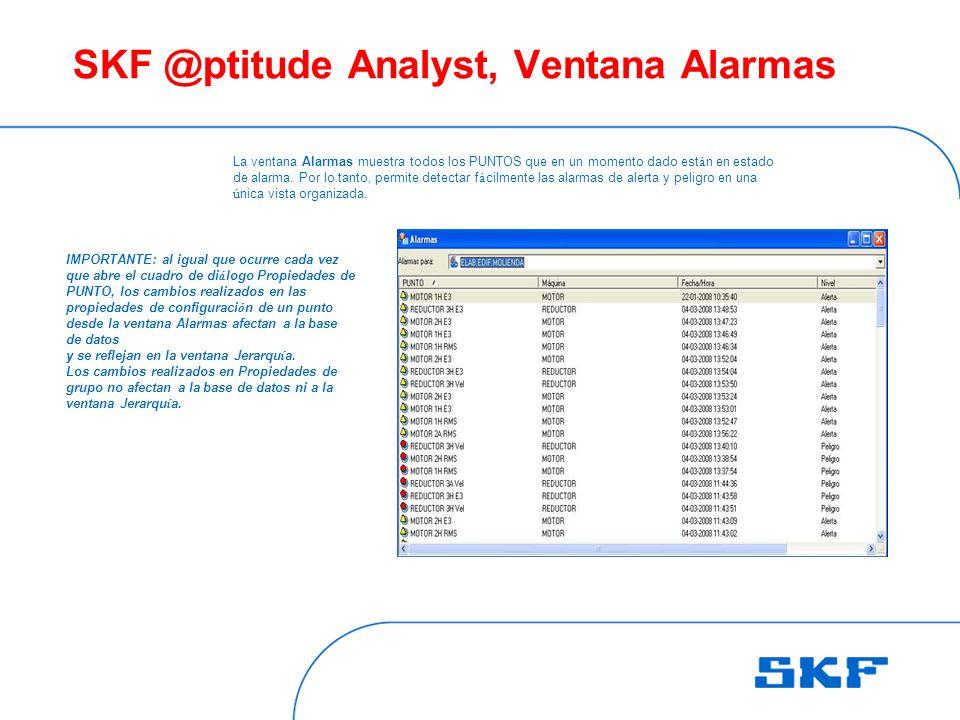 SKF @ptitude Analyst, Ventana Alarmas