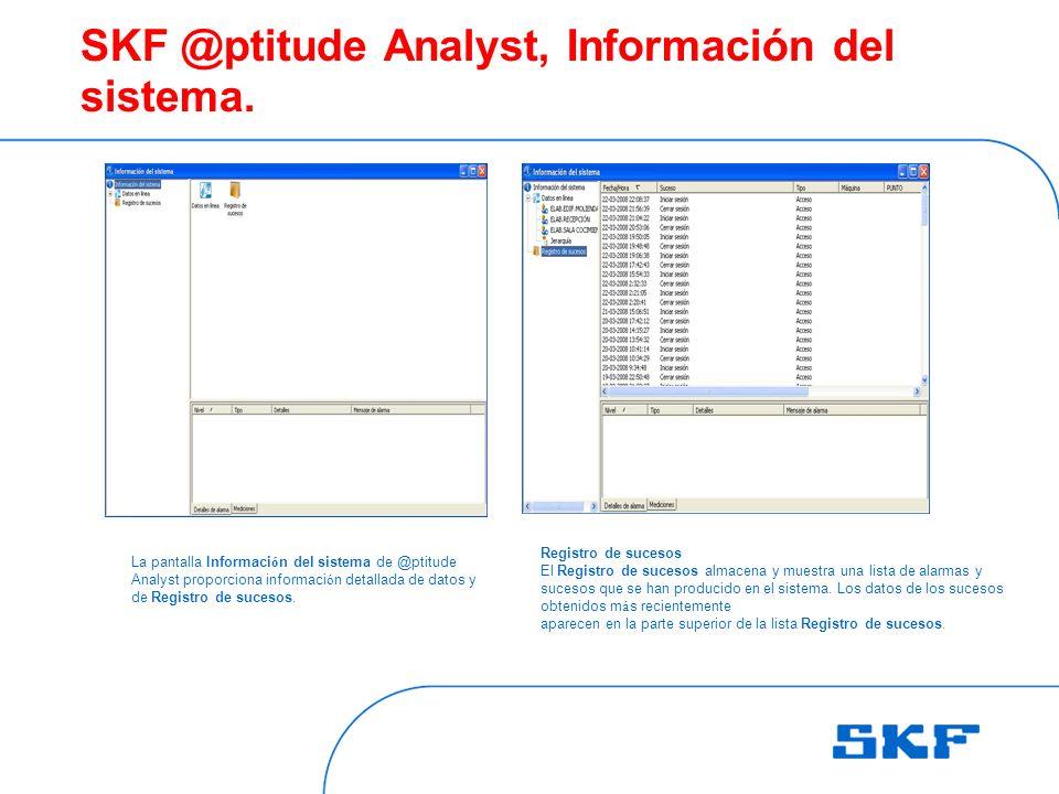 SKF @ptitude Analyst, Información del sistema.