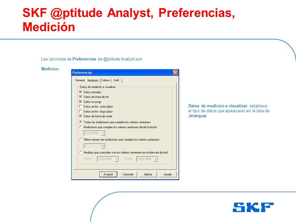 SKF @ptitude Analyst, Preferencias, Medición