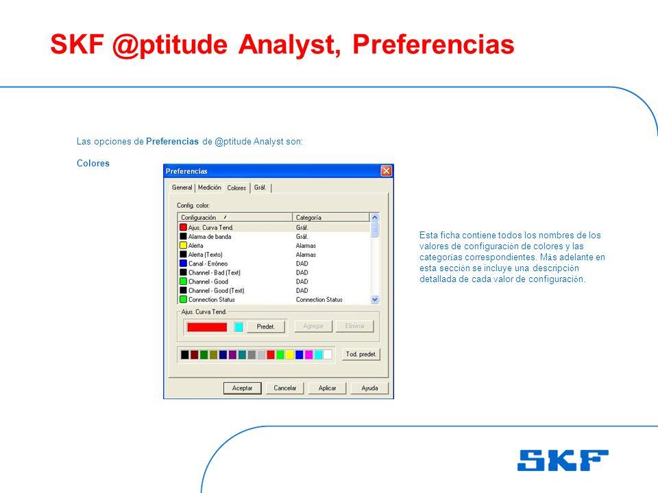 SKF @ptitude Analyst, Preferencias