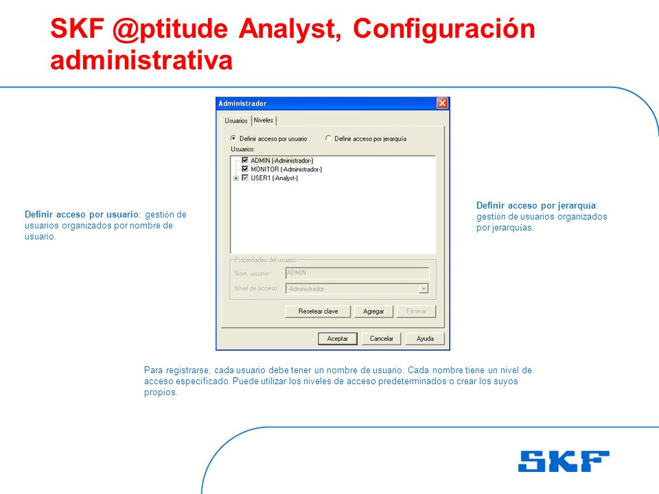 SKF @ptitude Analyst, Configuración administrativa