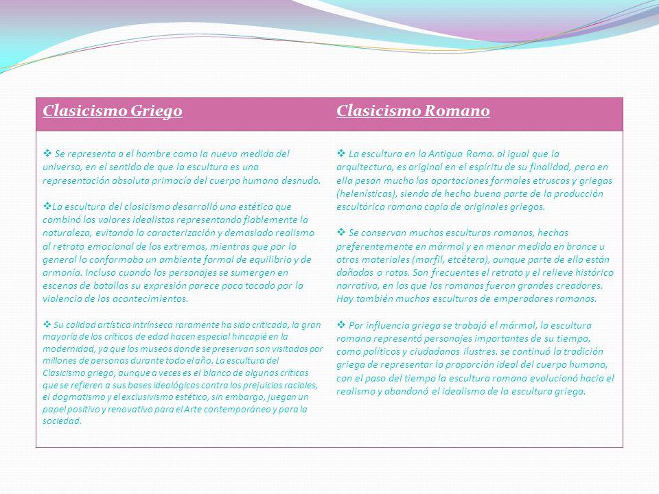 . . Clasicismo Griego Clasicismo Romano