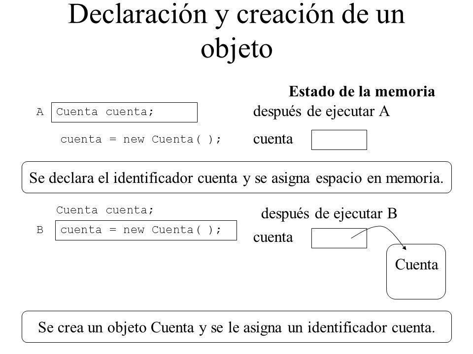 Declaración y creación de un objeto