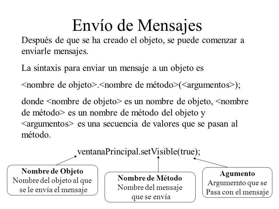 Envío de Mensajes Después de que se ha creado el objeto, se puede comenzar a enviarle mensajes. La sintaxis para enviar un mensaje a un objeto es.