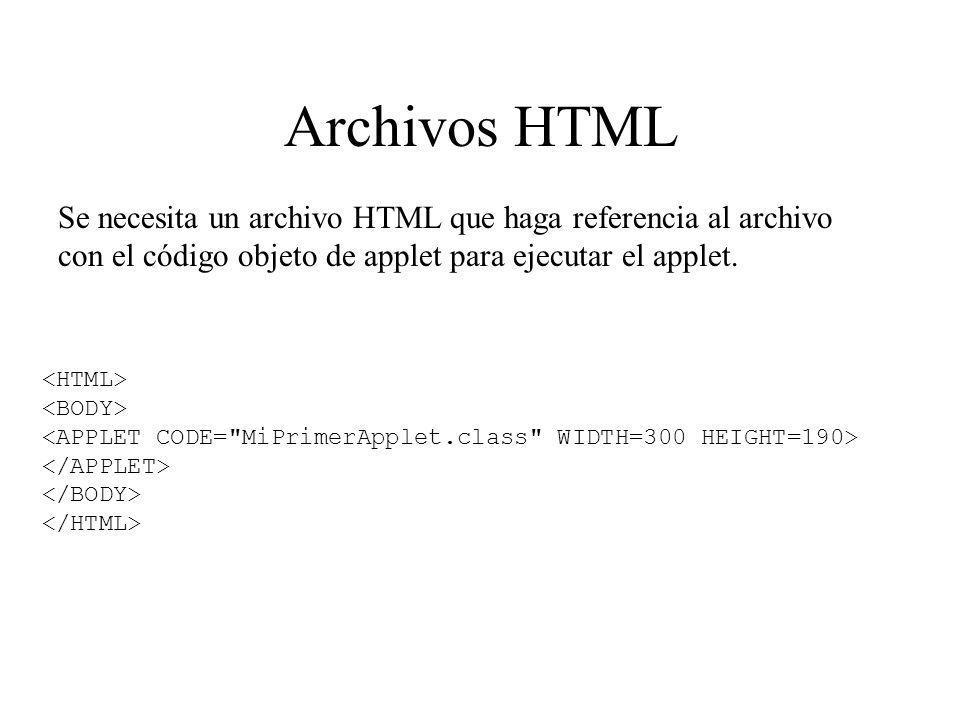 Archivos HTML Se necesita un archivo HTML que haga referencia al archivo con el código objeto de applet para ejecutar el applet.