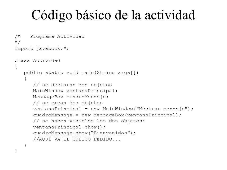 Código básico de la actividad