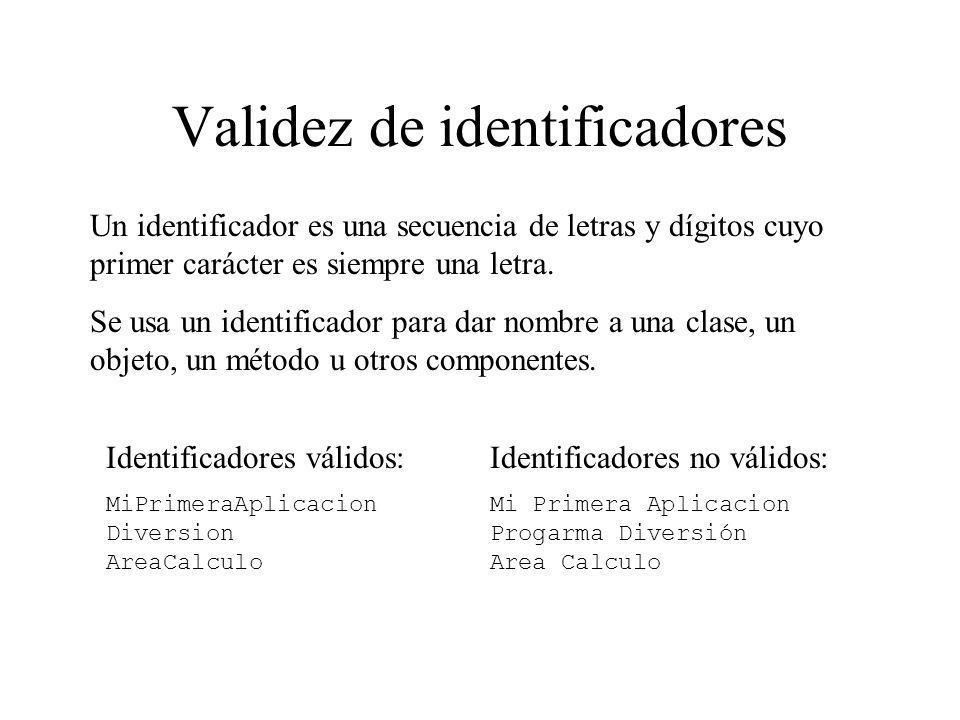 Validez de identificadores