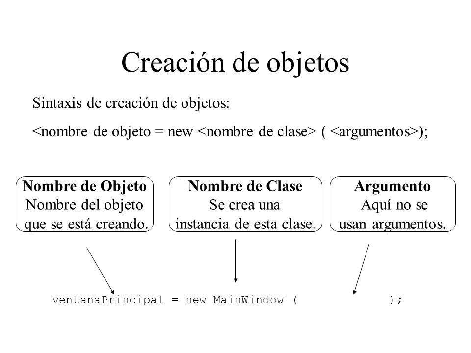 Creación de objetos Sintaxis de creación de objetos:
