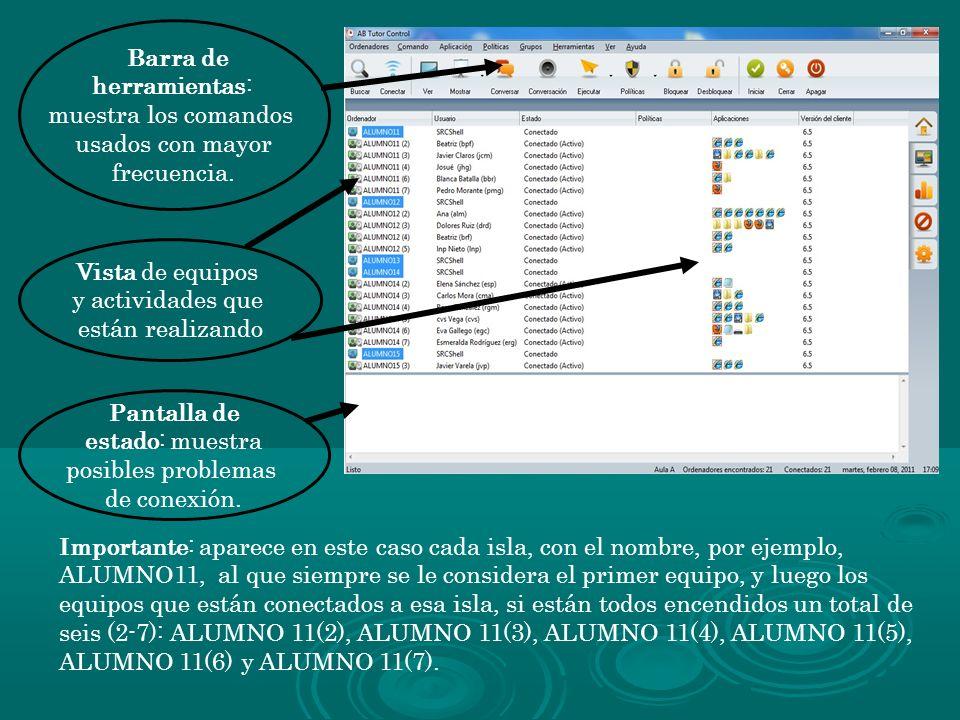 Barra de herramientas: muestra los comandos. usados con mayor. frecuencia. Vista de equipos. y actividades que.