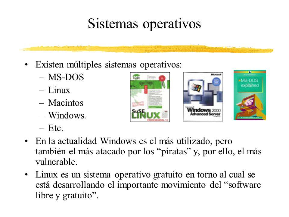 Sistemas operativos Existen múltiples sistemas operativos: MS-DOS