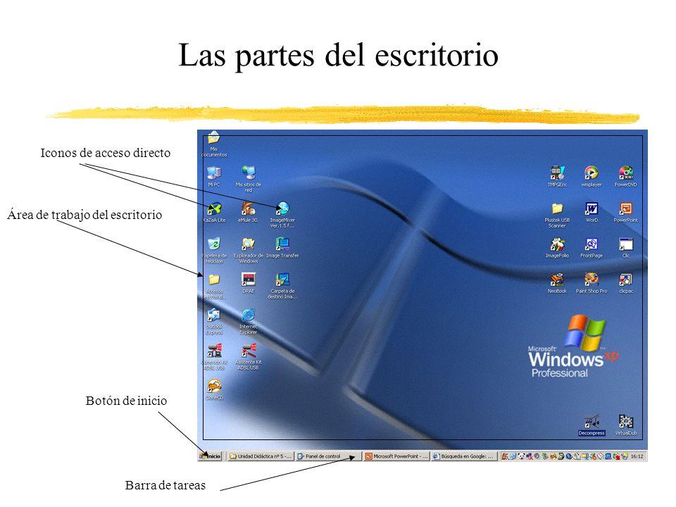 Las partes del escritorio
