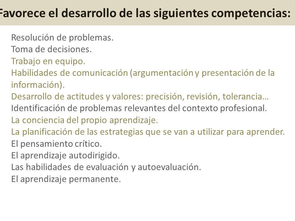Favorece el desarrollo de las siguientes competencias: