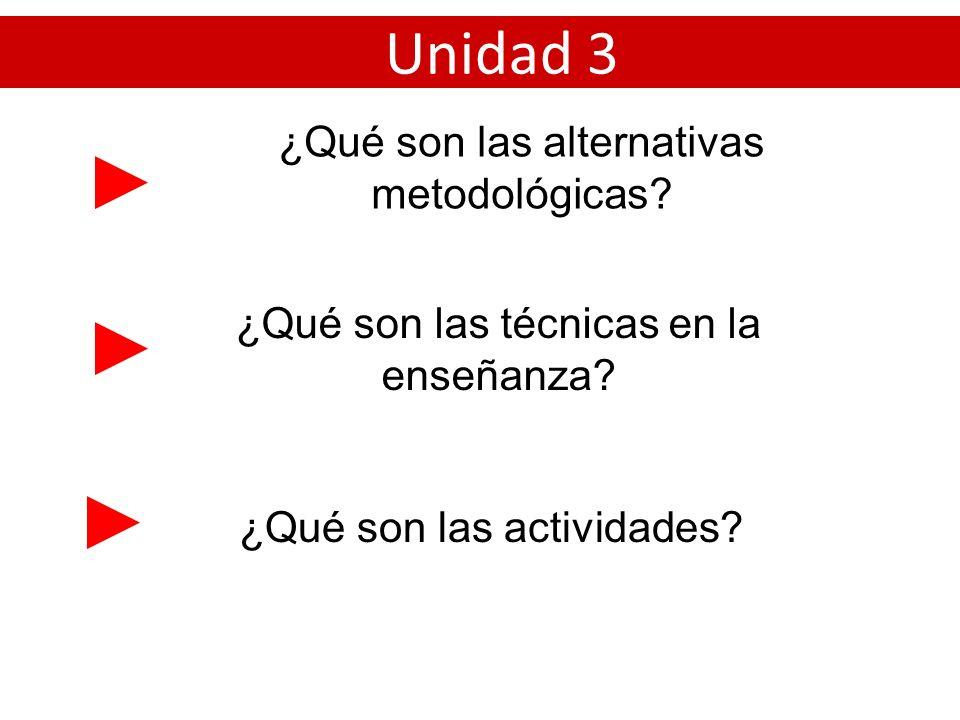Unidad 3 ¿Qué son las alternativas metodológicas