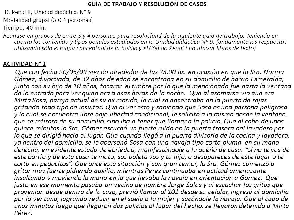 GUÍA DE TRABAJO Y RESOLUCIÓN DE CASOS