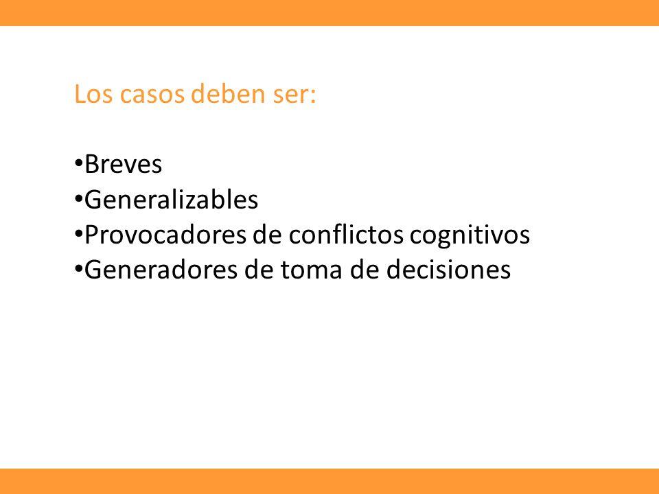 Los casos deben ser: Breves. Generalizables. Provocadores de conflictos cognitivos.
