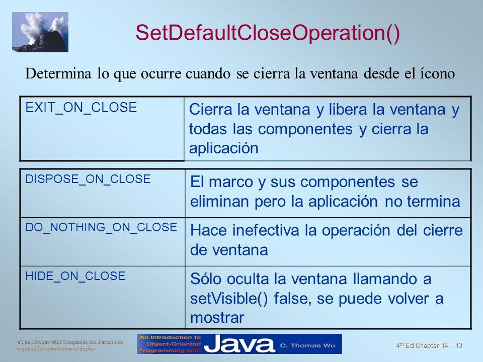 SetDefaultCloseOperation()