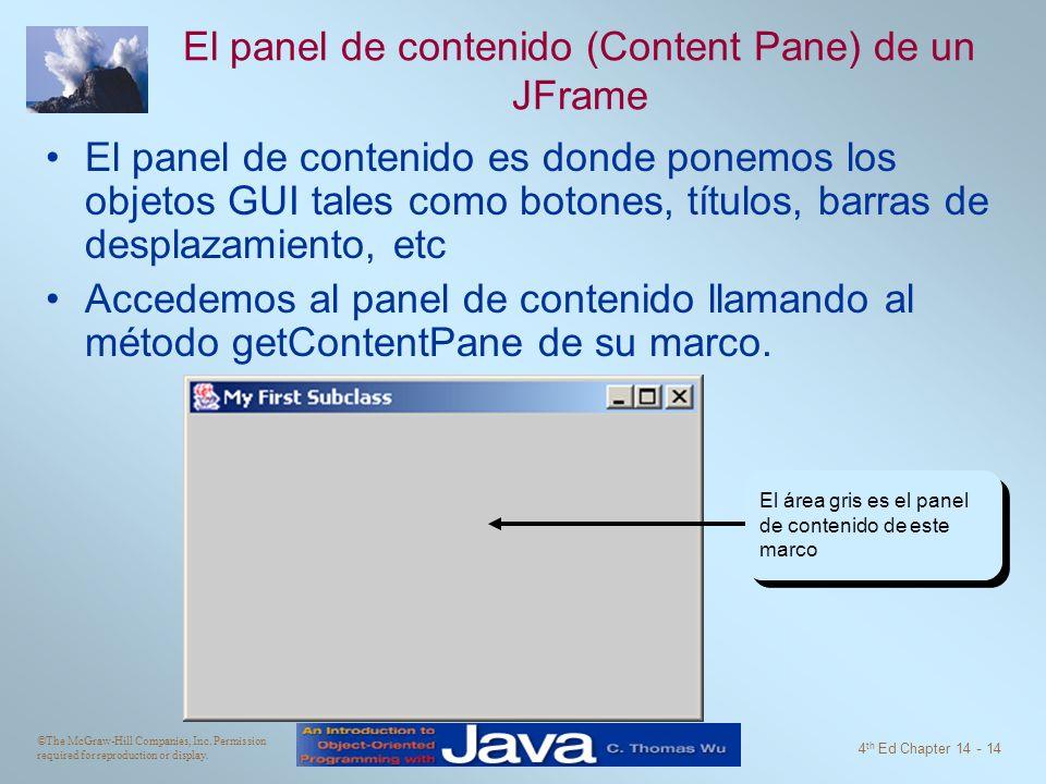 El panel de contenido (Content Pane) de un JFrame