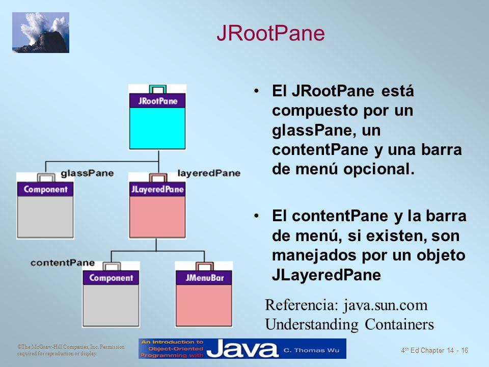 JRootPane El JRootPane está compuesto por un glassPane, un contentPane y una barra de menú opcional.