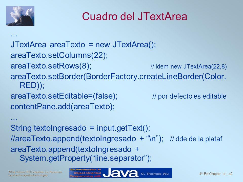 Cuadro del JTextArea ... JTextArea areaTexto = new JTextArea();